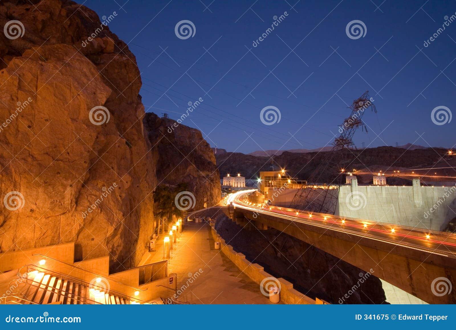 De Dam van Hoover bij Nacht