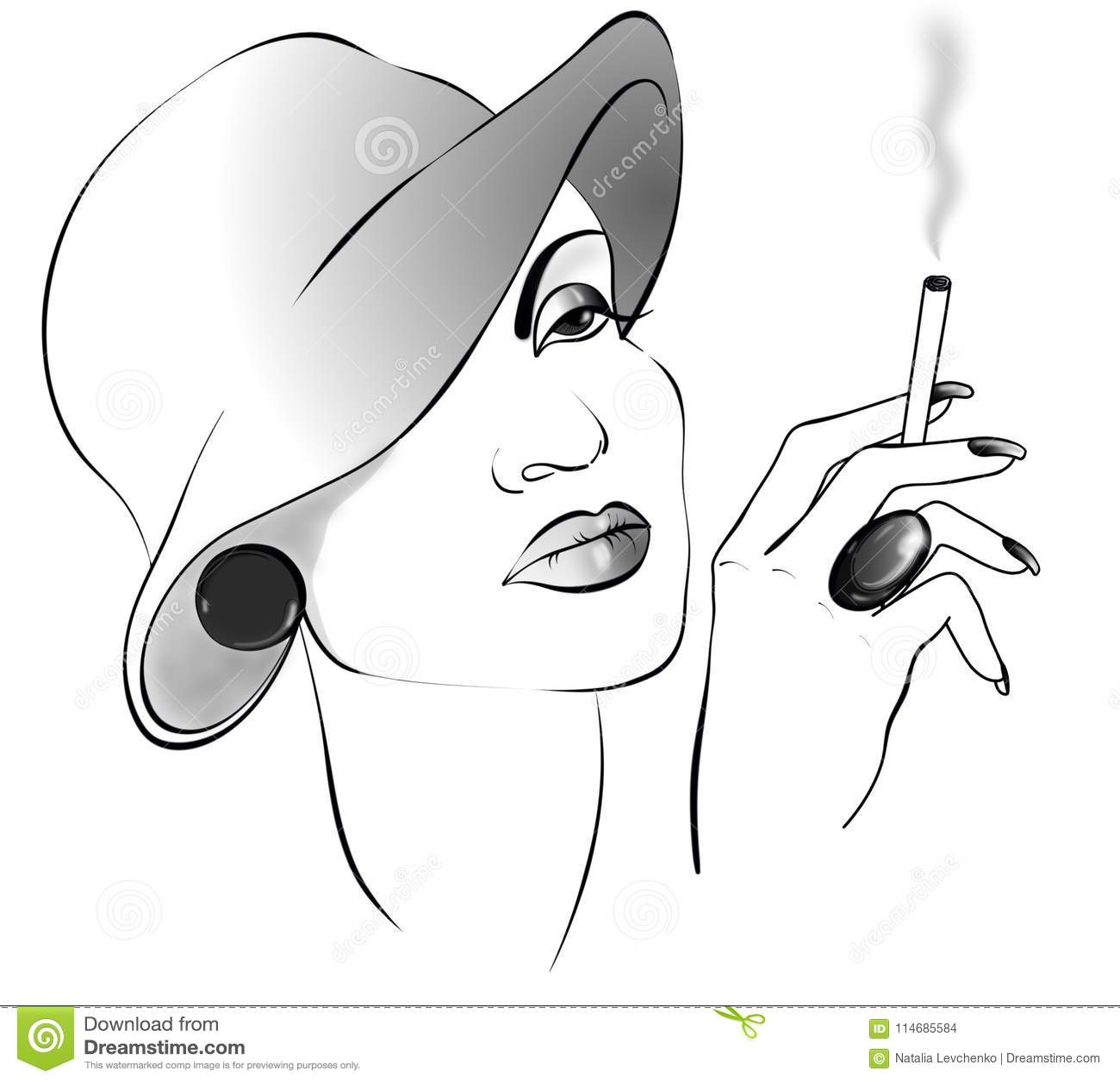 De dame van de Black&whitetekening met sigaret in een hoed
