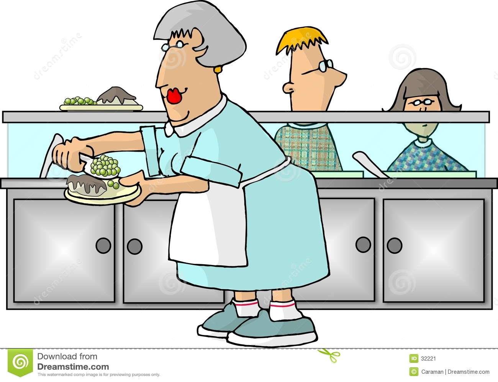 De Dame van de Cafetaria van de school