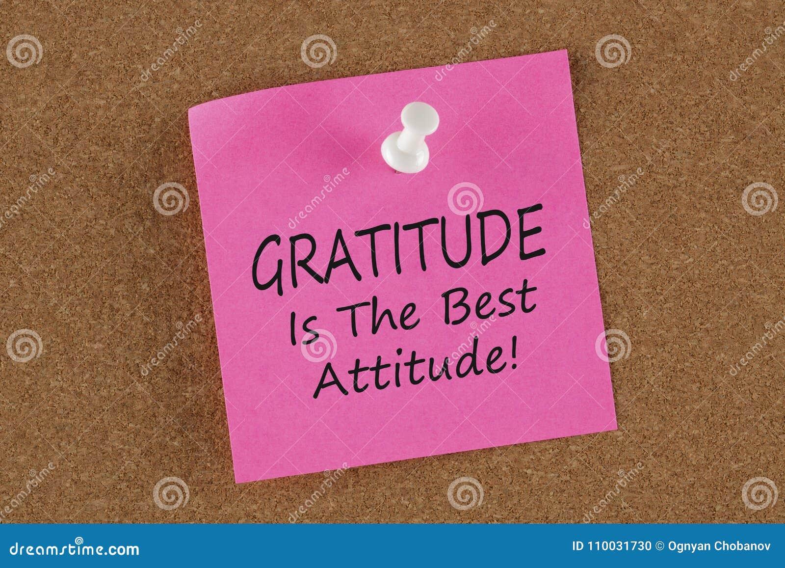 De dankbaarheid is de Beste geschreven Houding herinnert notaconcept