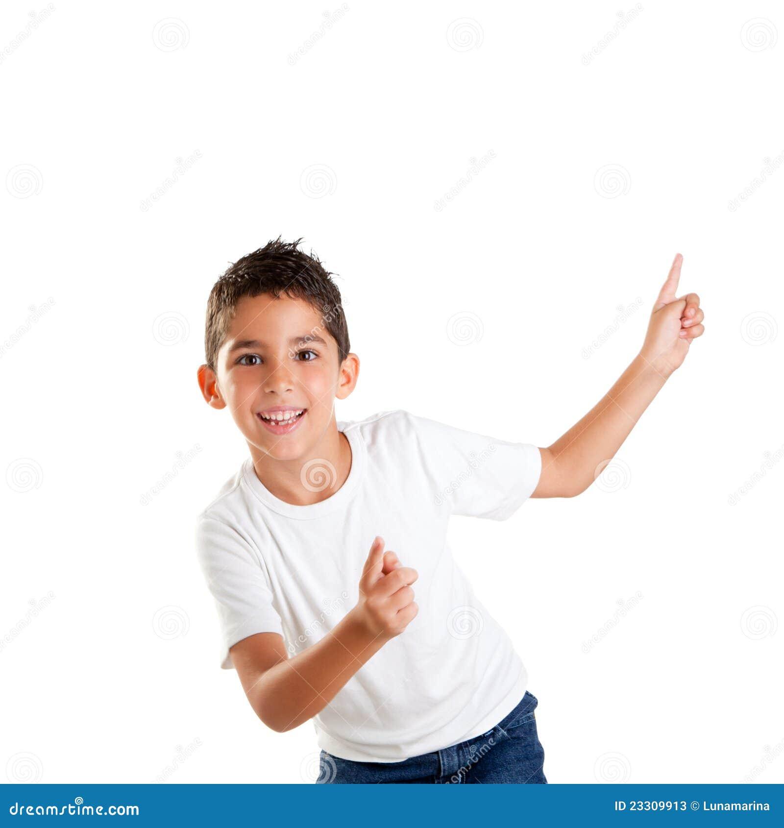 De dansende gelukkige jongen van het kinderenjonge geitje met omhoog vingers stock afbeelding - Opslagkast ruimte van de jongen ...