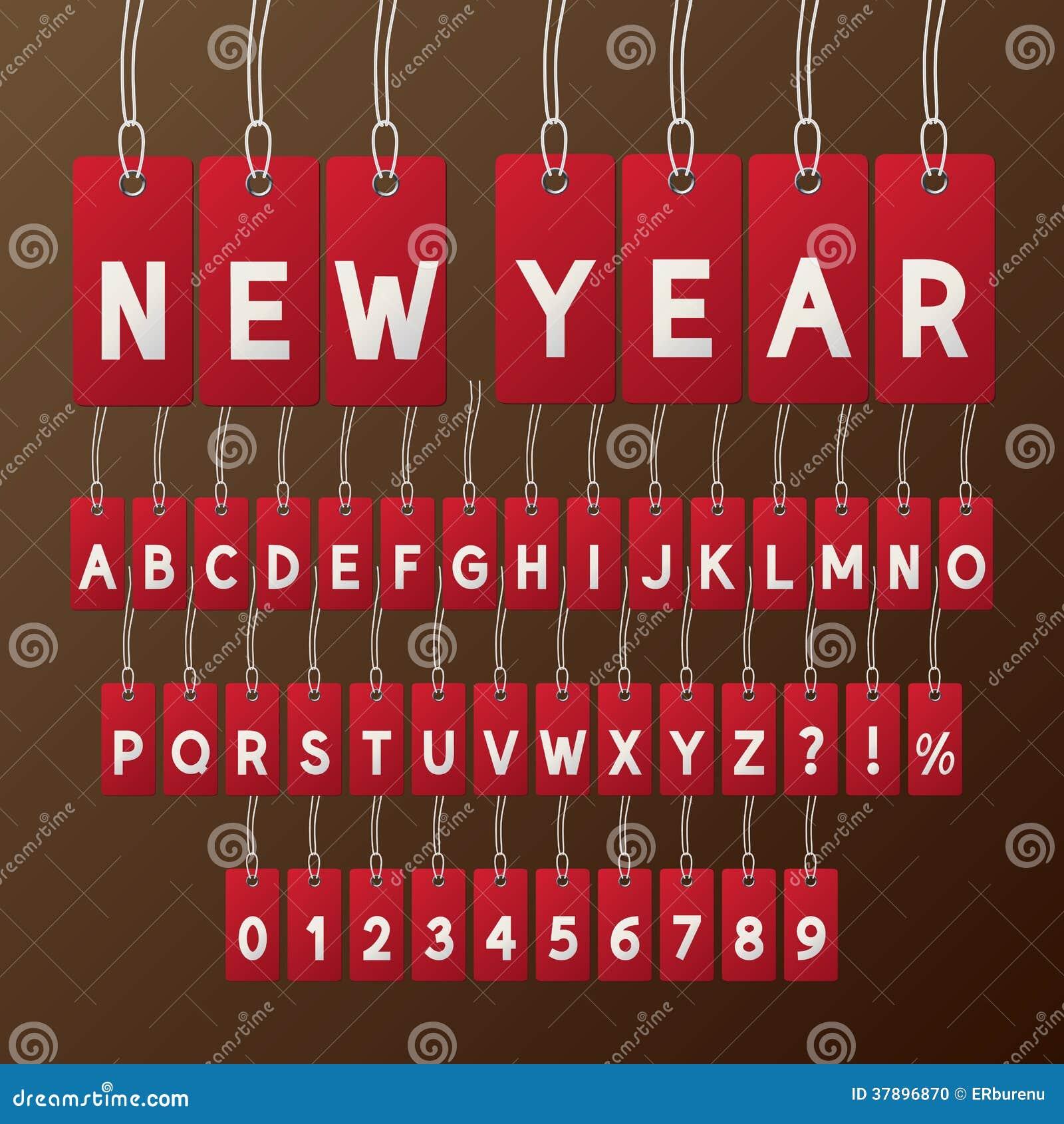 De de abstracte Doopvont en Aantallen van de Nieuwjaarmarkering