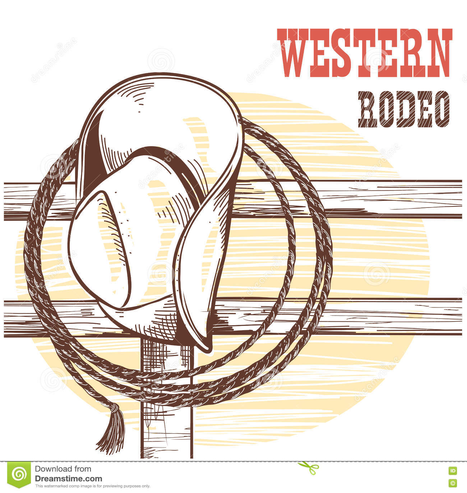 De de Amerikaanse hoed en lasso van de het Westencowboy op houten omheining Rodeo illustrat