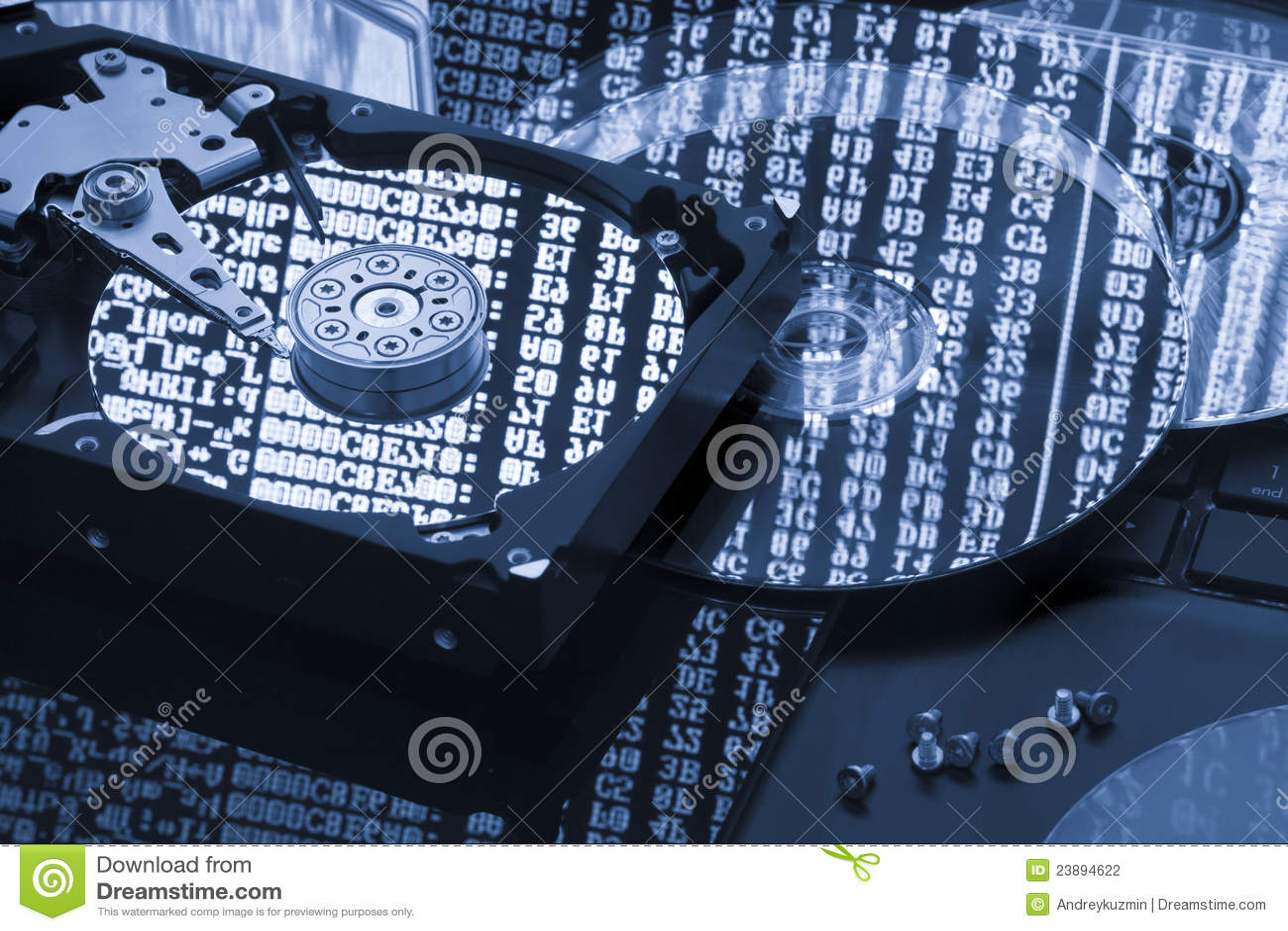 De de gegevensopslag van de harde schijf, steun, herstelt concept