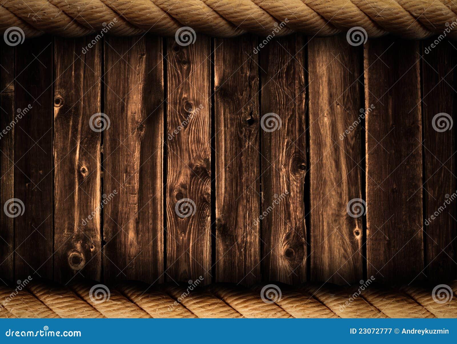 De de houten achtergrond of achtergrond van Grunge met kabelframe