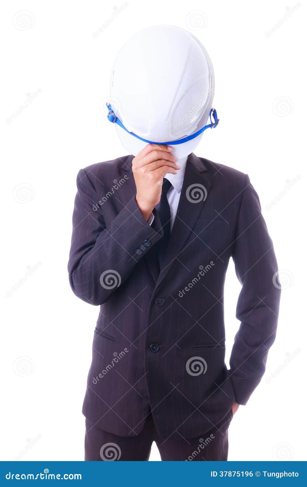 De de ingenieurshelm van de bedrijfsmensenholding isoleted