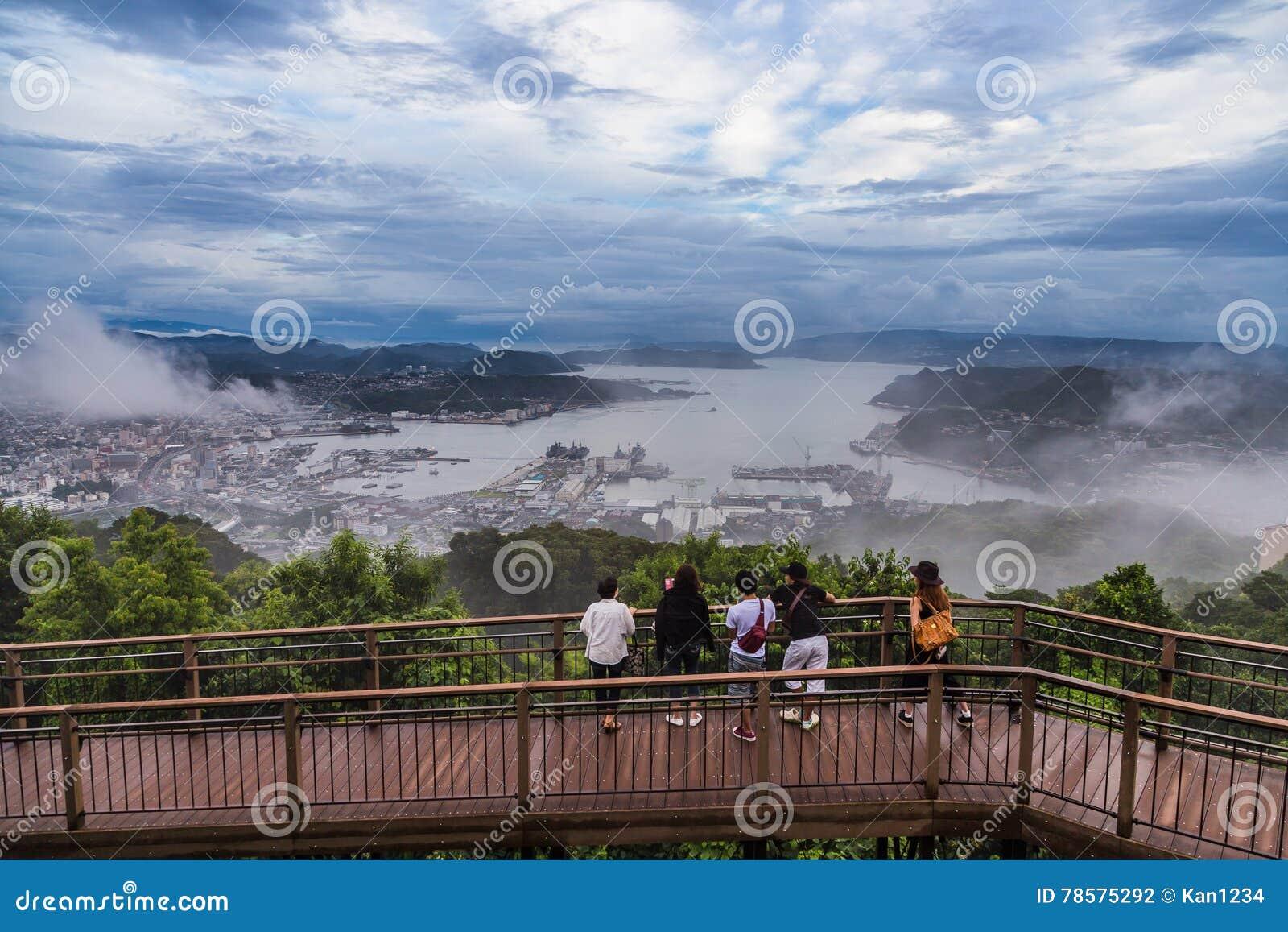 De de stadsmening van Sasebo van Yumihari overziet, Nagasaki, Japan
