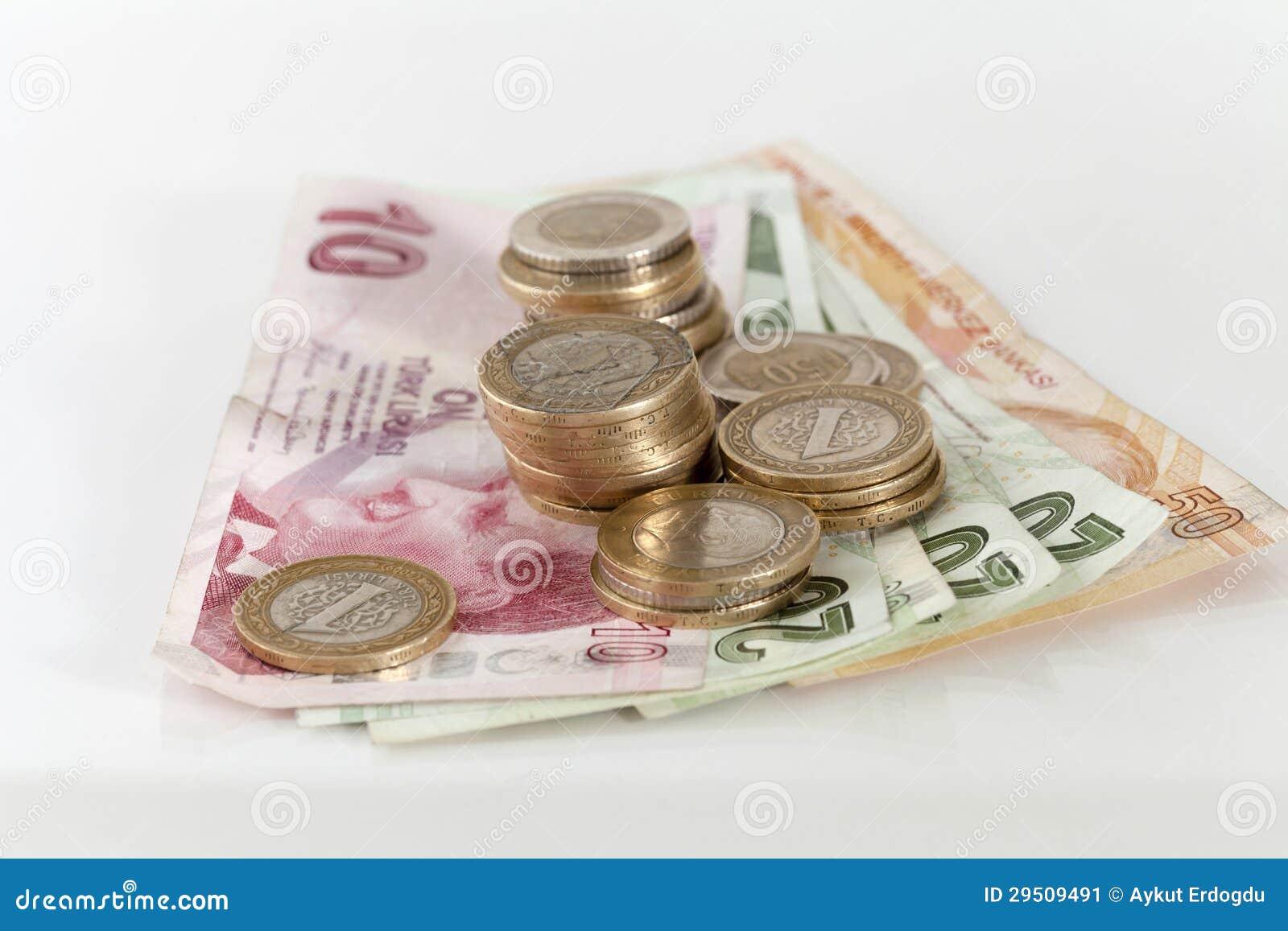 De de Turkse muntstukken en bankbiljetten van de Lire