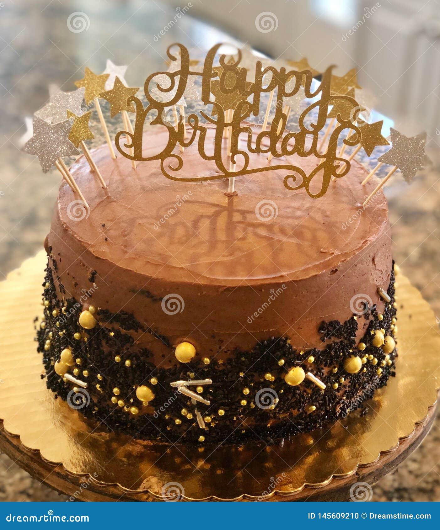 Cool De Decadente Cake Van De Chocoladeverjaardag Stock Foto Personalised Birthday Cards Bromeletsinfo