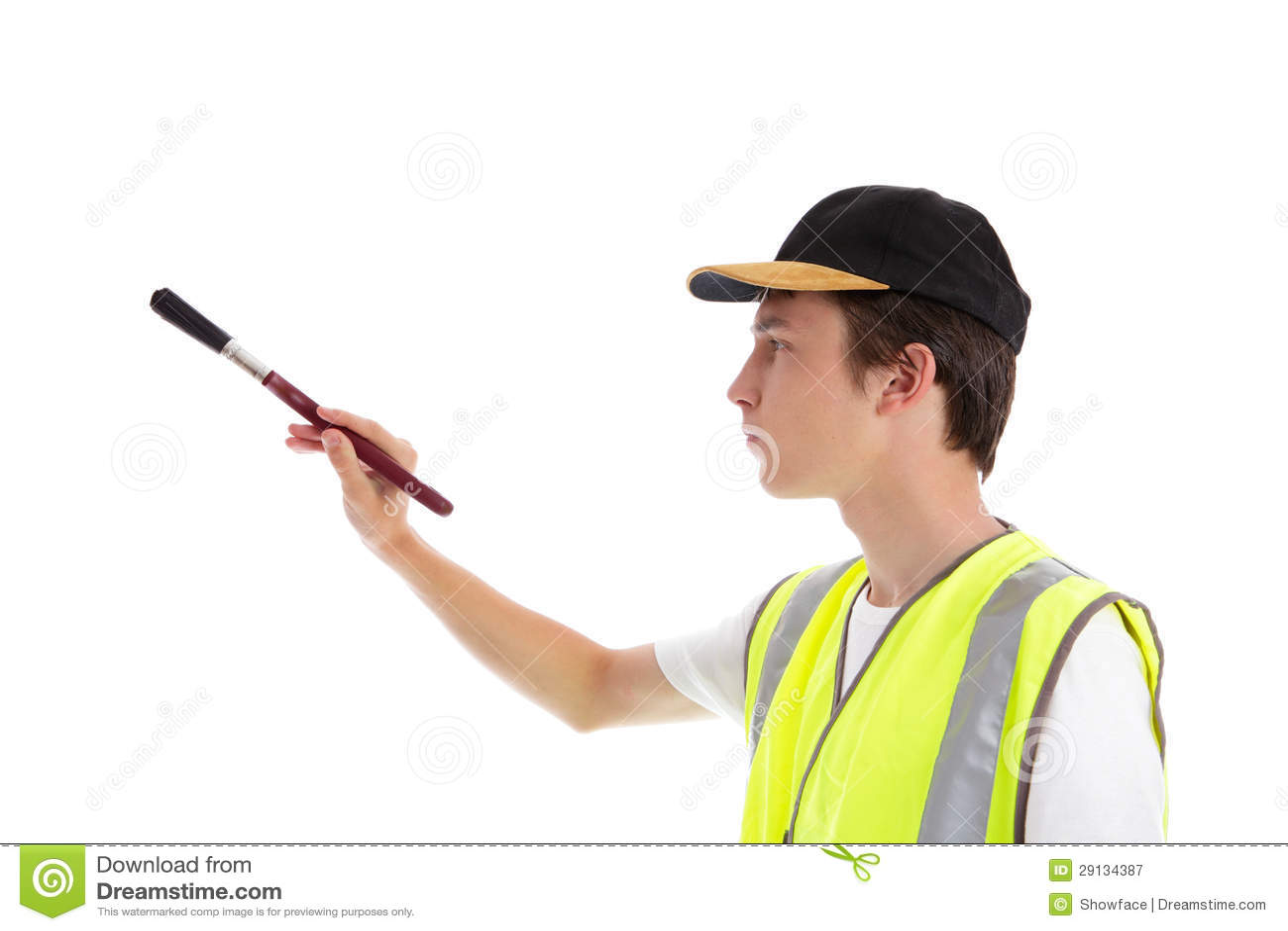 De decorateur van de schilder met verfborstel