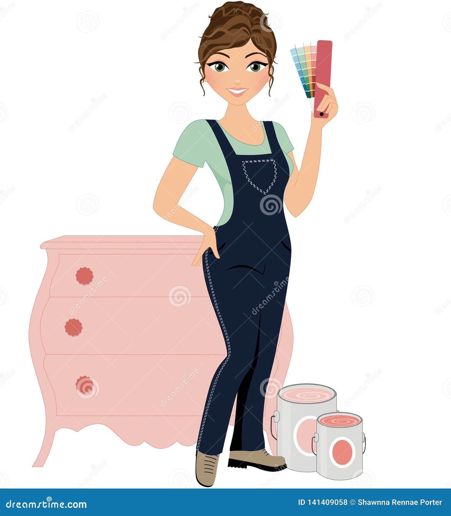 De decorateur van het vrouwenmeubilair