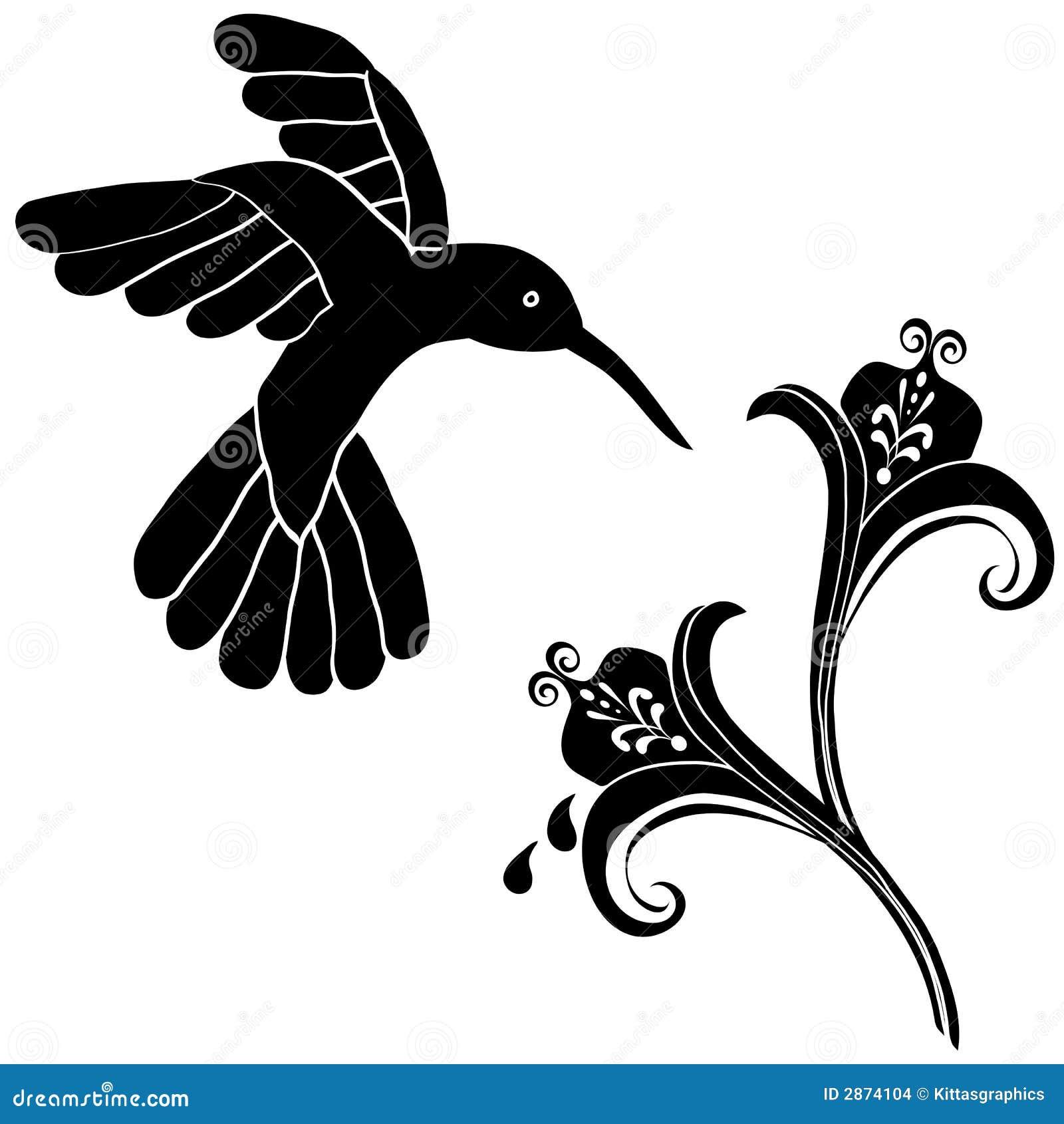 de decoratie van de bloemen van de kolibrie vector