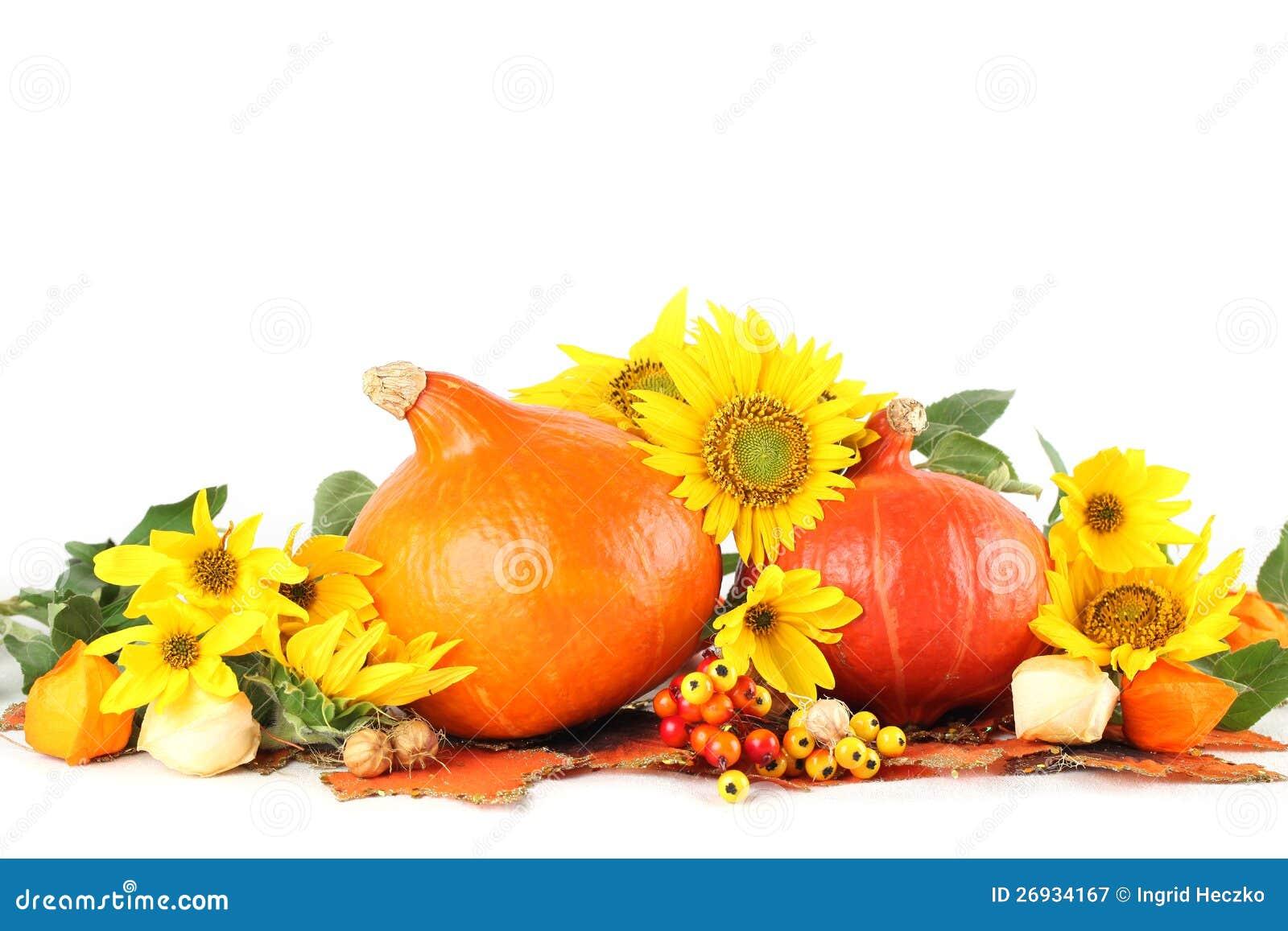 De decoratie van de herfst met zonnebloemen en pompoenen stock afbeelding afbeelding 26934167 - Decoratie van de villas ...