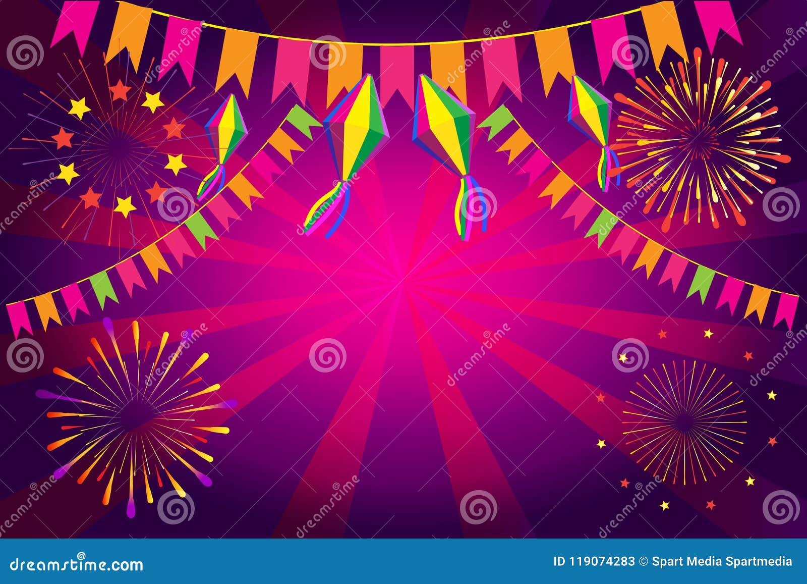 De decoratie van het het Festivalvuurwerk van Carnaval Festa Junina