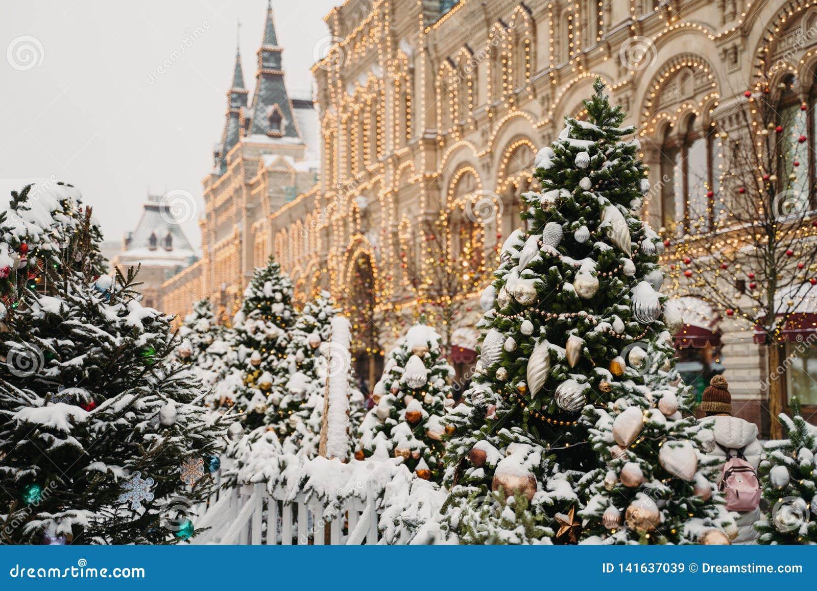 De decoratie van de Kerstmisstad