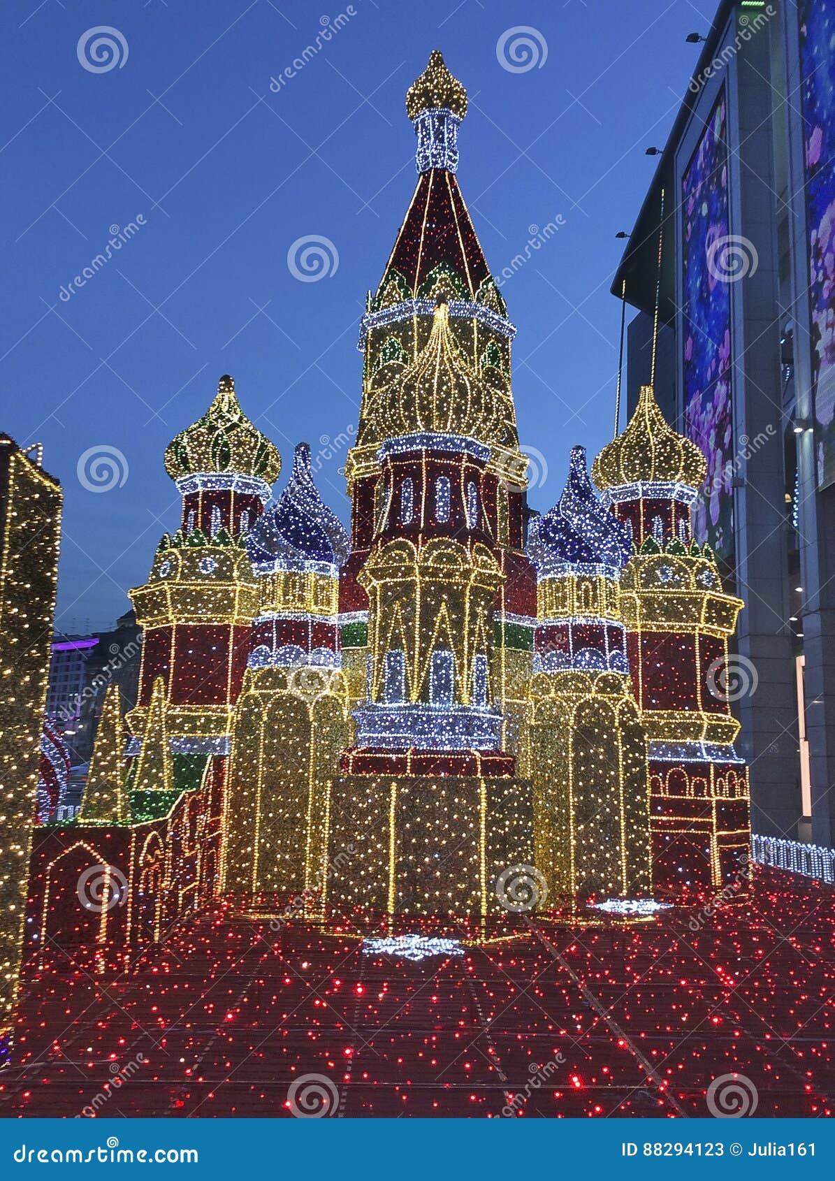 De decoratie van Moskou het Kremlin voor Kerstmisnieuwjaar Rusland