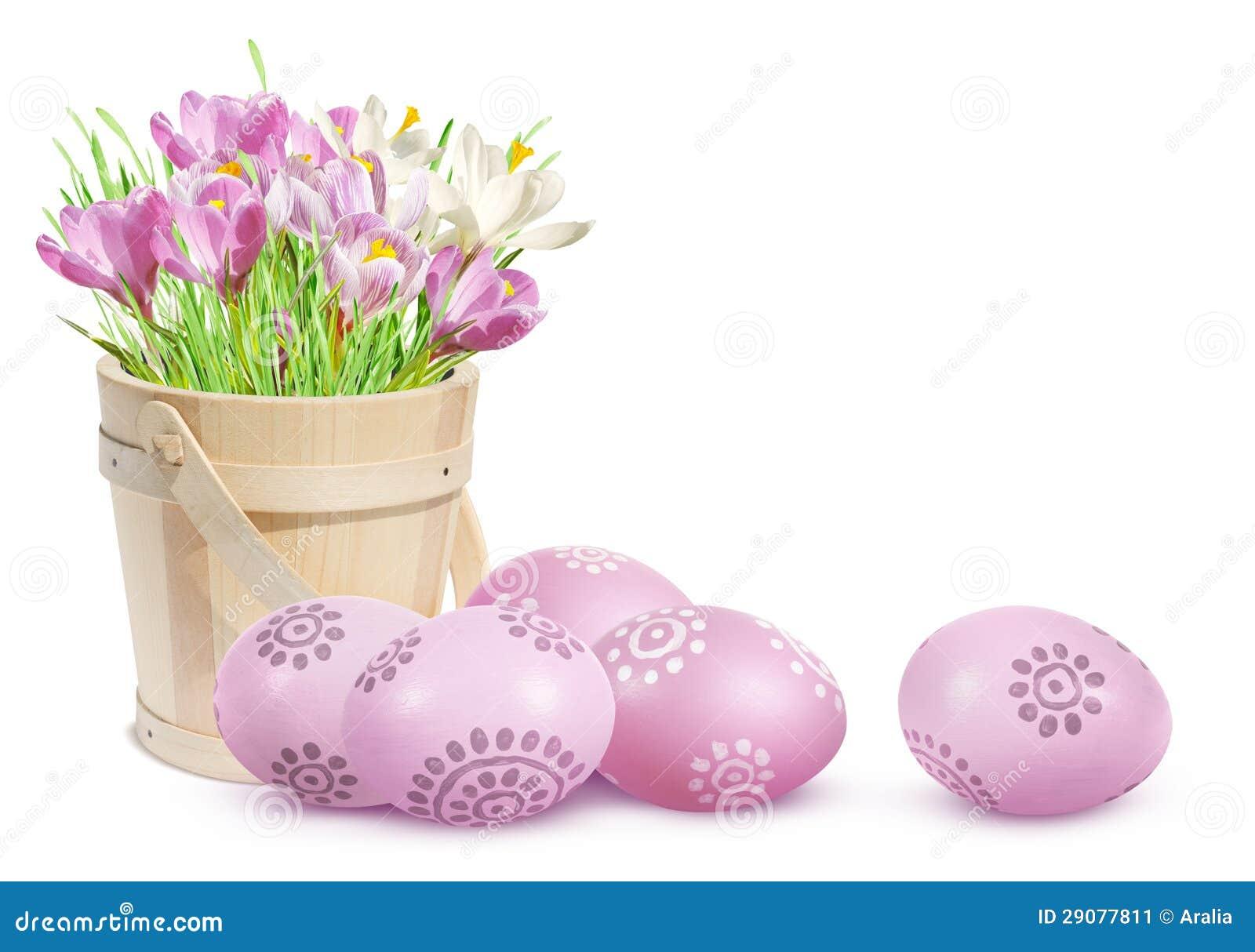 De decoratie van pasen met eieren en roze krokussen stock afbeelding beeld 29077811 - Decoratie van de kamers van de meiden ...