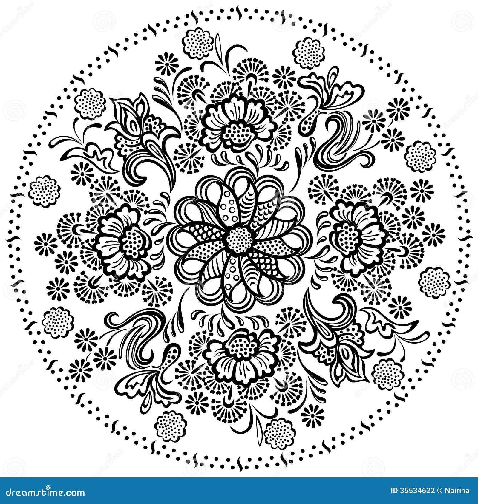 De decoratieve bloemenelementen van het Mandalapatroon