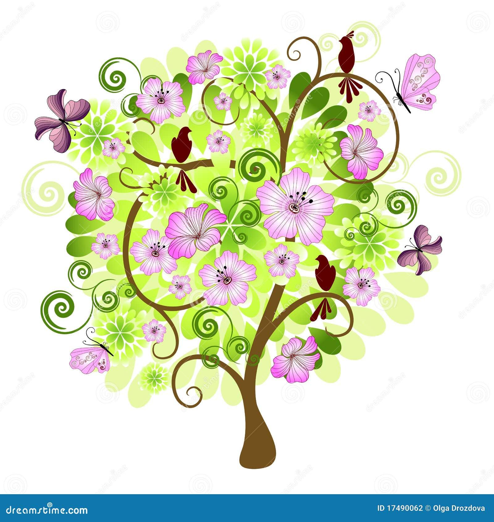 De decoratieve boom van de lente stock fotografie afbeelding 17490062 - Boom ontwerp ...