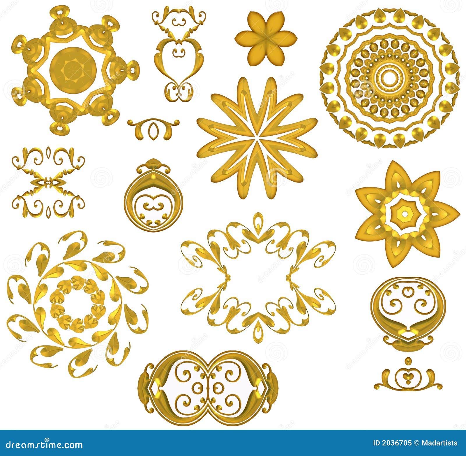 De decoratieve Gouden Pictogrammen van het Web
