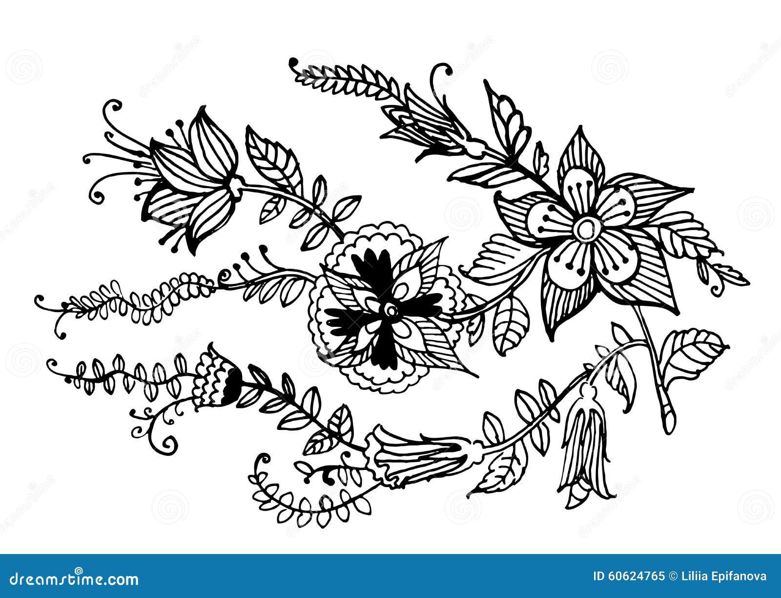 De decoratieve slinger van bloemen inkt grafische illustratie