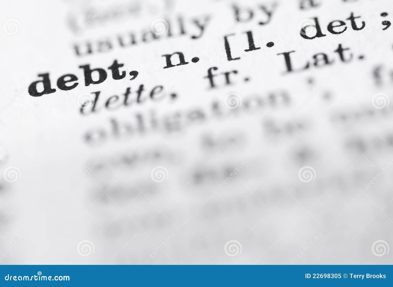 De Definitie Van De Schuld In Engels Woordenboek Stock