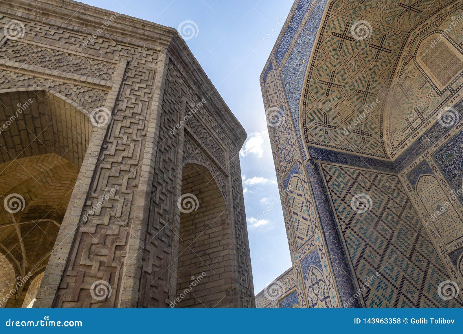 De details van de bouw De Moskee Kalyan Één van de oudste en grootste Moskee in Centraal-Azië Hoofdkathedraalmoskee van Boukhara