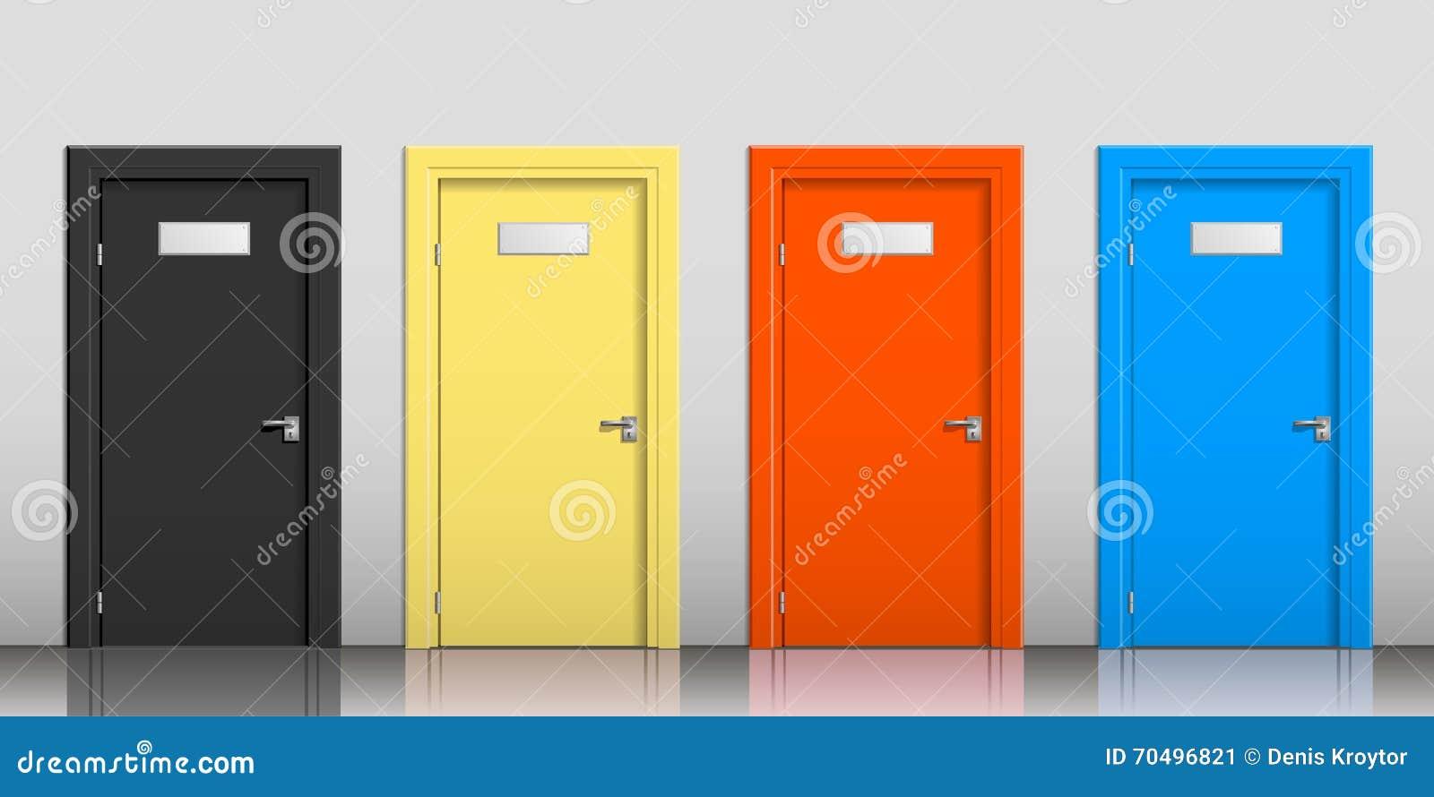 De deuren van verschillende kleuren stock foto afbeelding 70496821 - Kleur schilderij gang ingang ...
