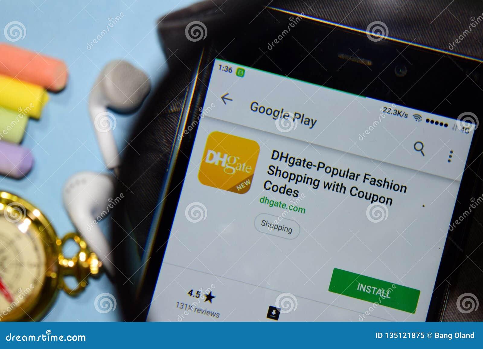 De dhgate-populaire Manier die met Coupon winkelen codeert dev app met het overdrijven op Smartphone-het scherm