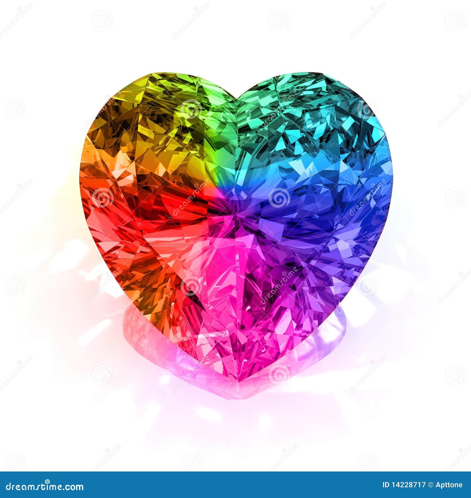 De diamant van de het hartvorm van de regenboog
