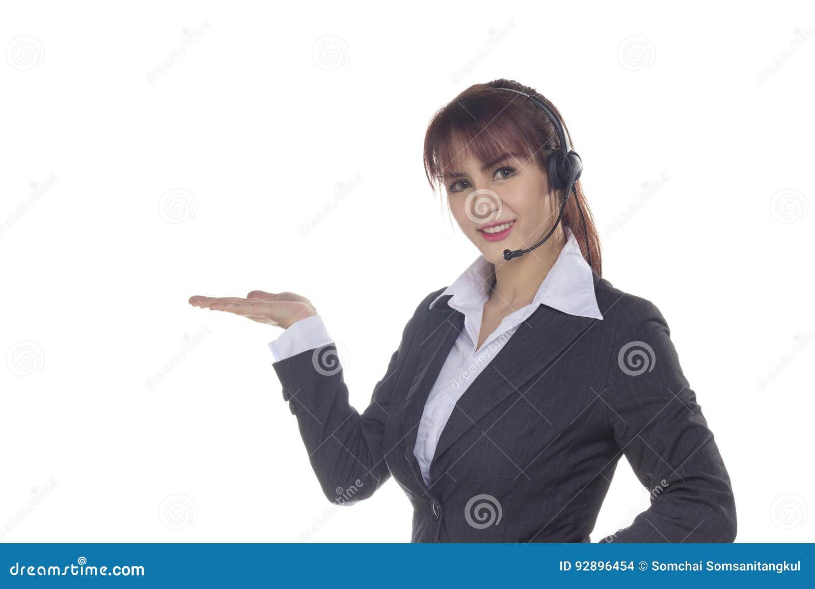 De dienstvrouw van de klant met hoofdtelefoon Glimlachende Bedrijfsvrouw die o tonen