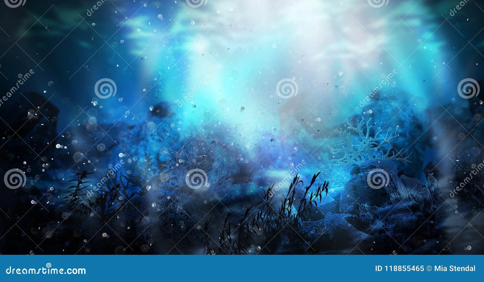 De diepte van zeewater, onderwaterworlddepth van zeewater, de bodem van het overzees