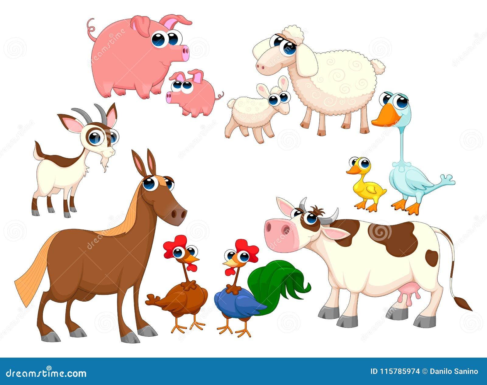 De dieren van het familielandbouwbedrijf