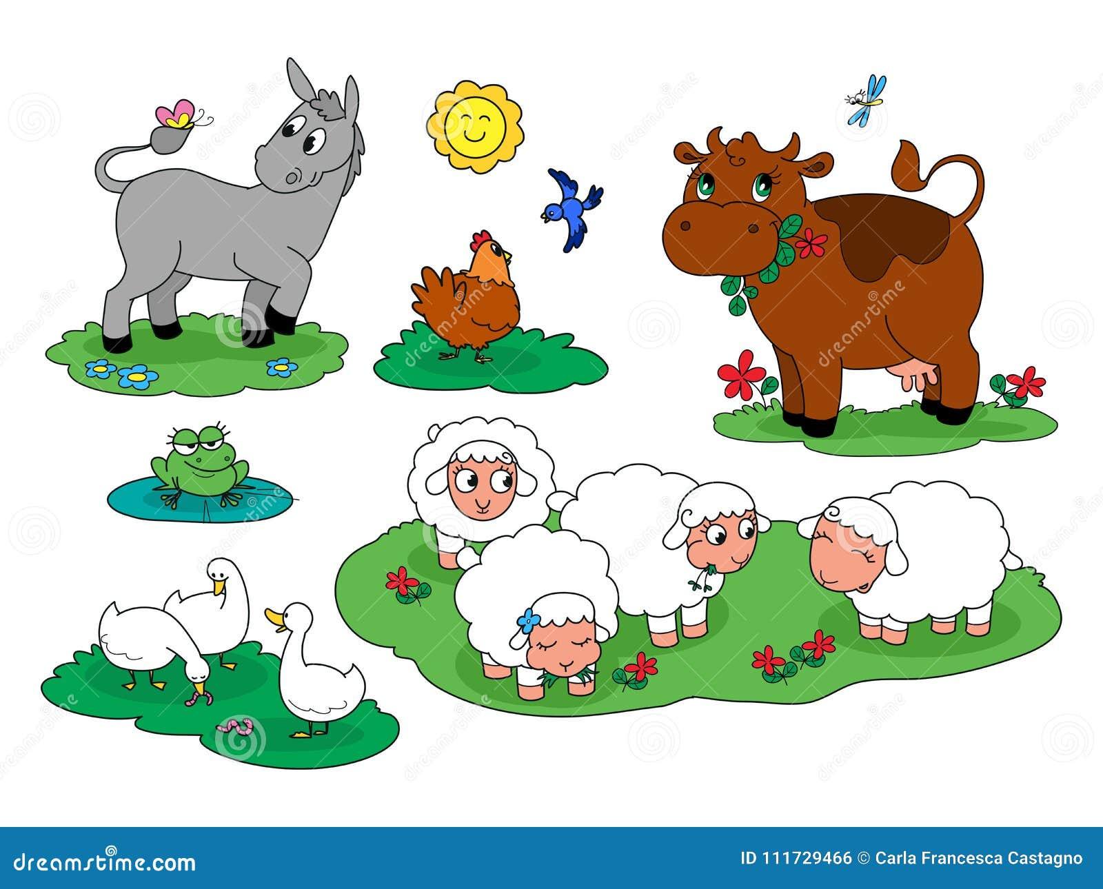 De diereninzameling 1 van het beeldverhaal leuke landbouwbedrijf
