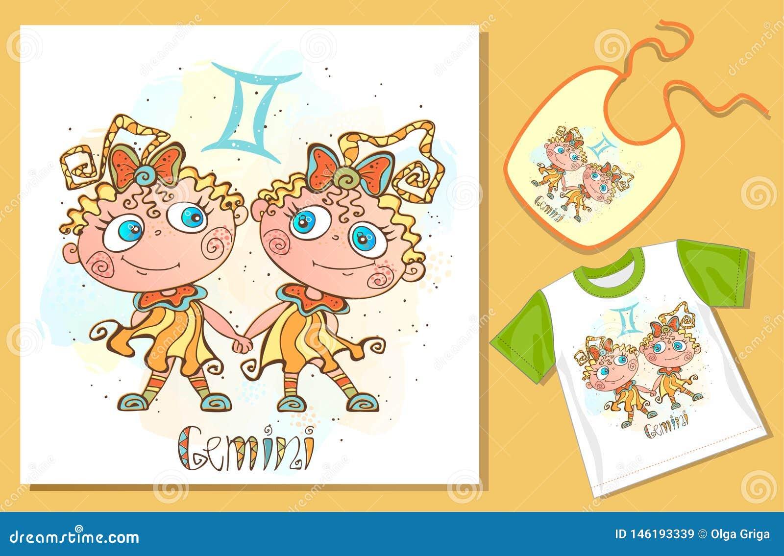 De dierenriem van kinderen Het teken van Tweeling Voorbeelden van toepassing op t-shirt en slab Vector
