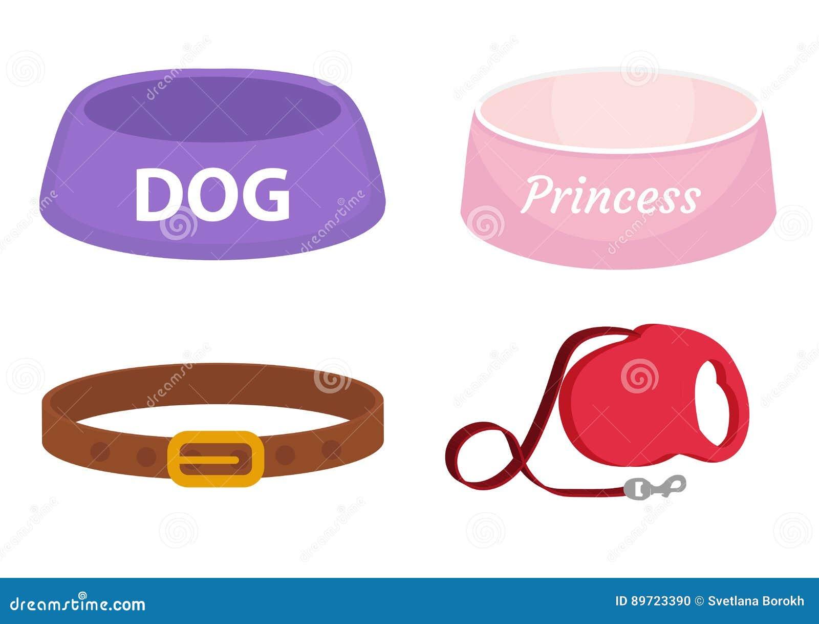 De dierlijke reeks van de toebehorenlevering pictogrammen, vlak, beeldverhaalstijl Inzameling van punten voor hondzorg met kom, l