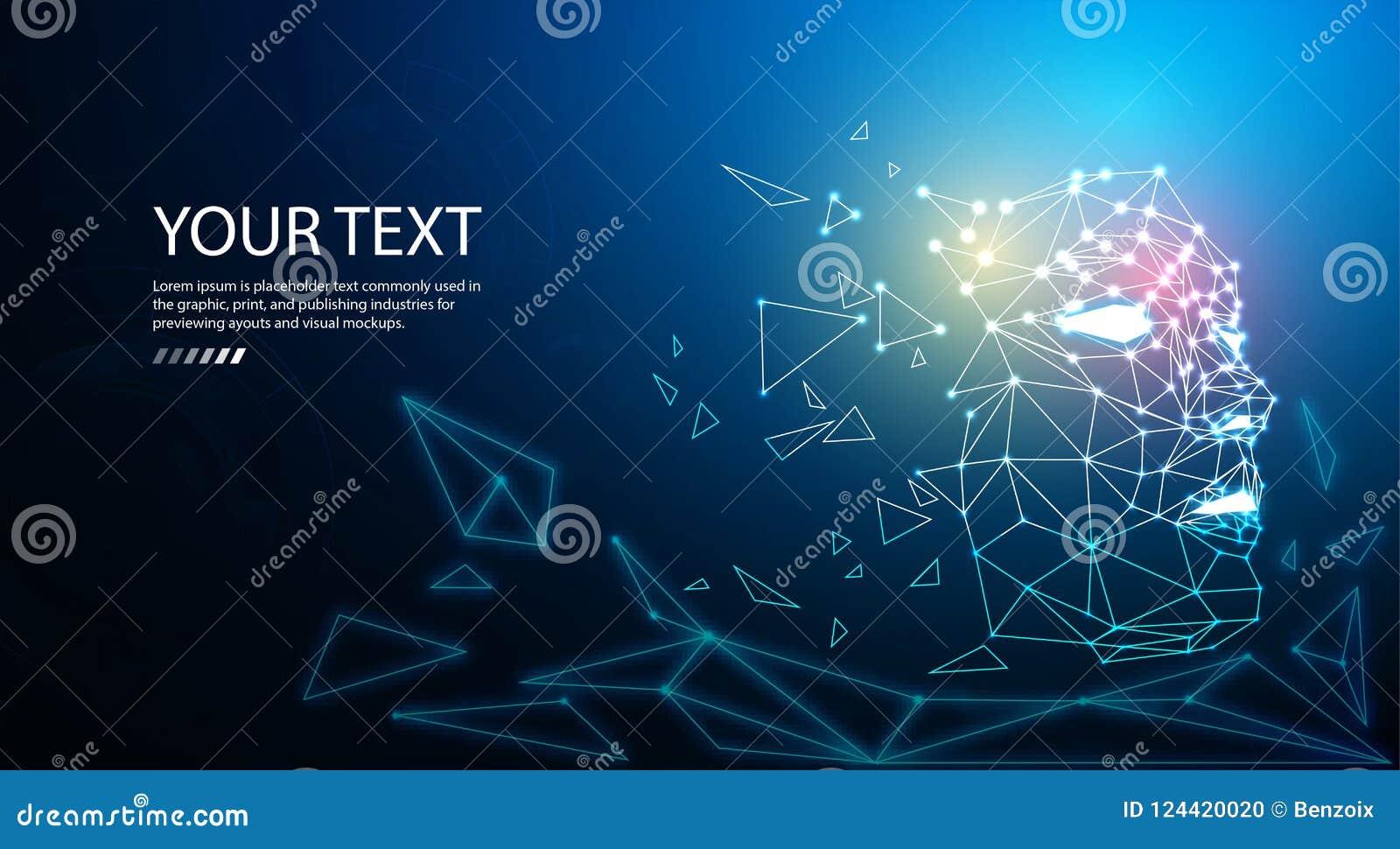 De digitale achtergrond van het de technologieconcept van het deeltjesgezicht voor kunstmatige intelligentie en machine het leren