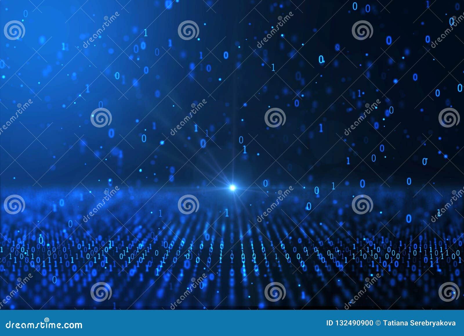 De digitale computer van het wereldconcept produceerde blauwe binaire achtergrond