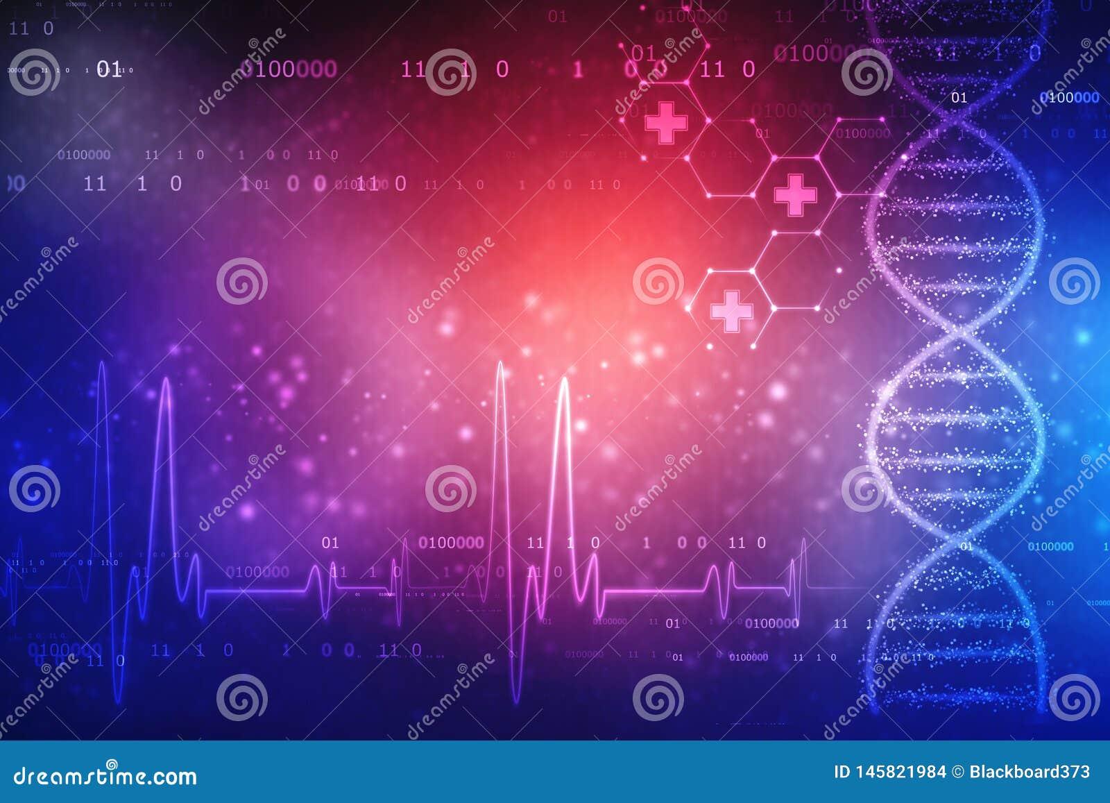 De digitale Illustratie van DNA-structuur, vat medische achtergrond samen