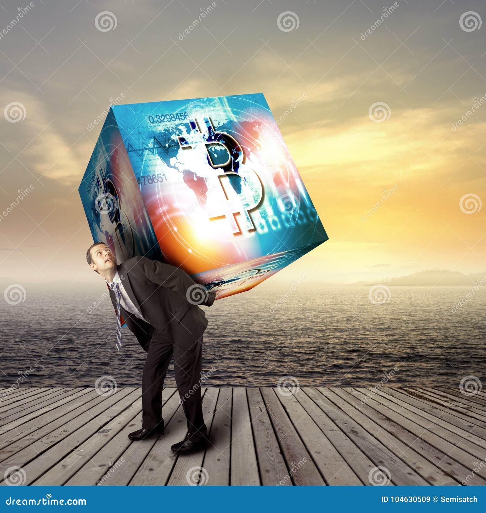 Download De Digitale Munt Van Het Bitcointeken, Futuristisch Digitaal Geld, Blockchain Technologieconcept Stock Illustratie - Illustratie bestaande uit conceptueel, cryptografie: 104630509