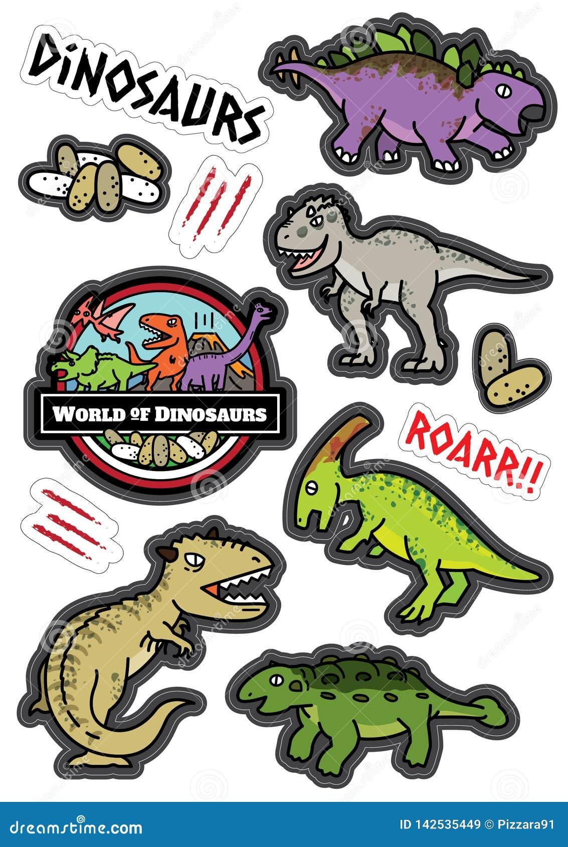De dinosaurussenkarakters ontwerpen sticker dicut