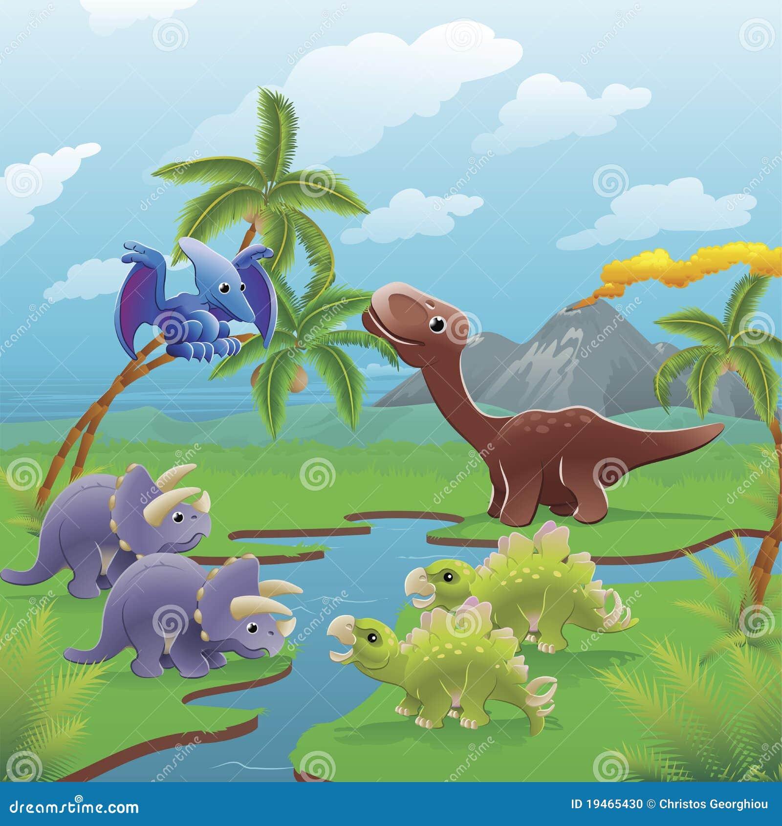 De dinosaurussenscène van het beeldverhaal.