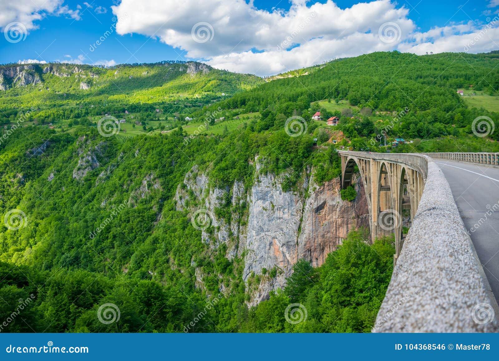 De Djurdjevic-Brug kruist de canion van Tara River