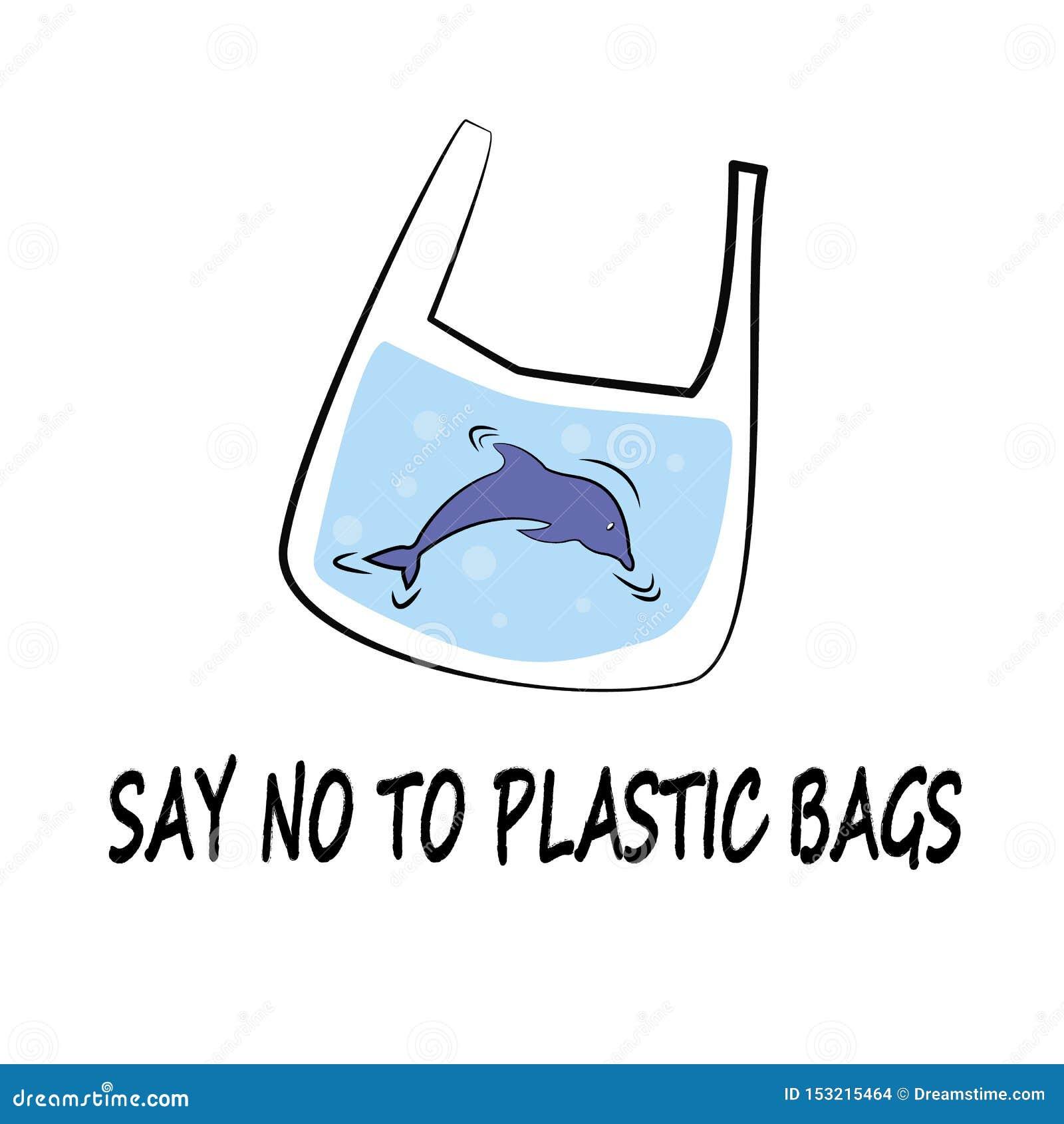 De dolfijn zegt Nr aan de Plastic Vectorstijl van de Illustratiekrabbel