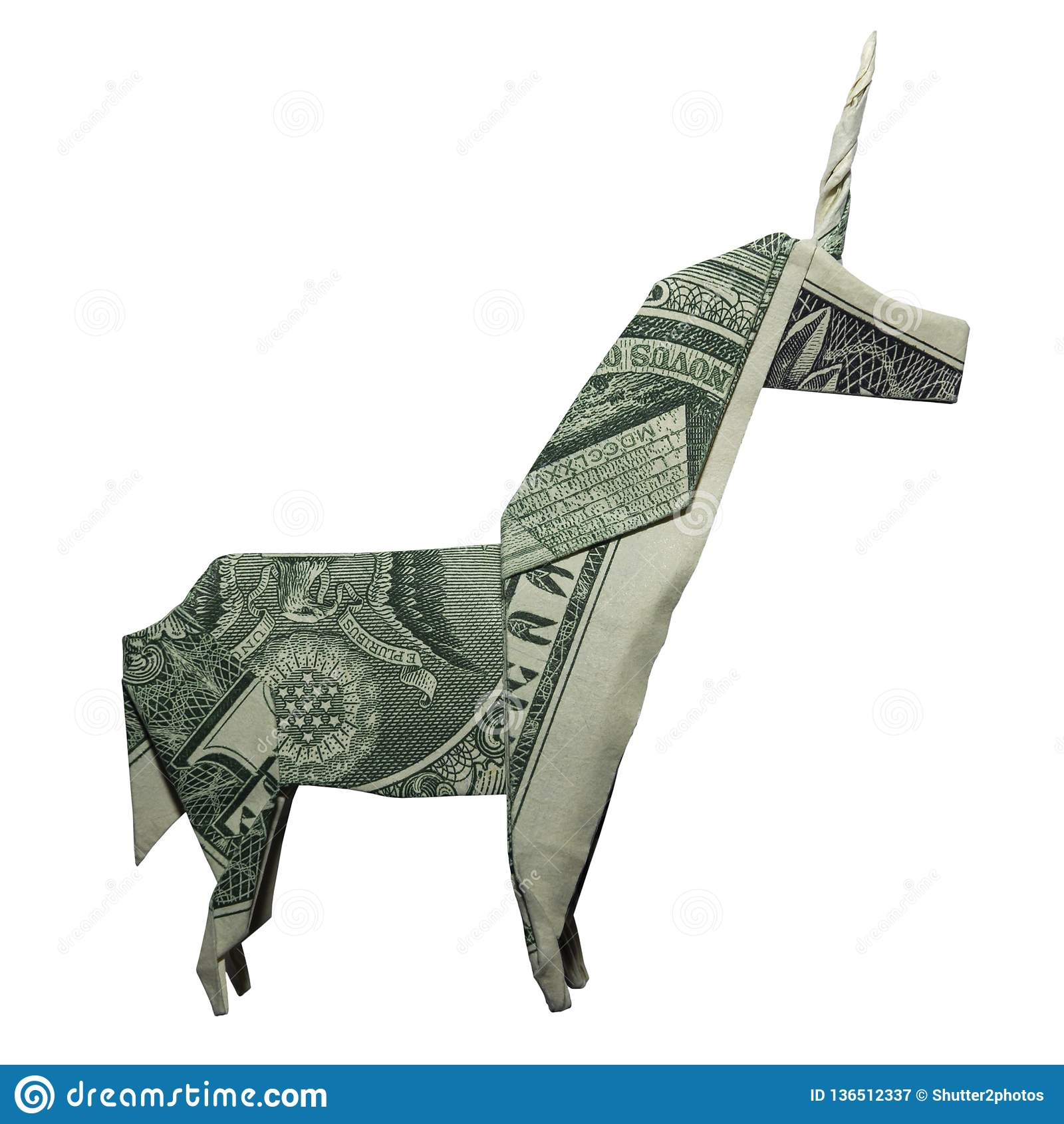 De Dollar Bill Isolated van UNICORN Mystic Animal Real One van de geldorigami op Witte Achtergrond
