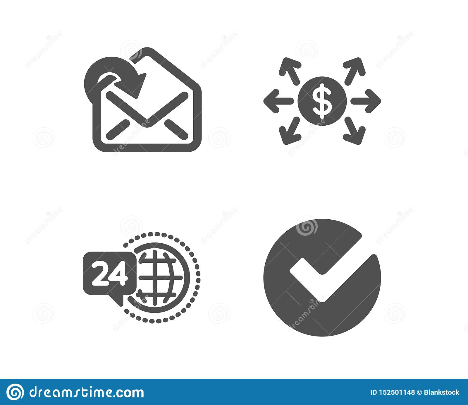De dollaruitwisseling, ontvangt post en 24h-de dienstpictogrammen Verifieer teken Betaling, Binnenkomend bericht, Vraagsteun Vect