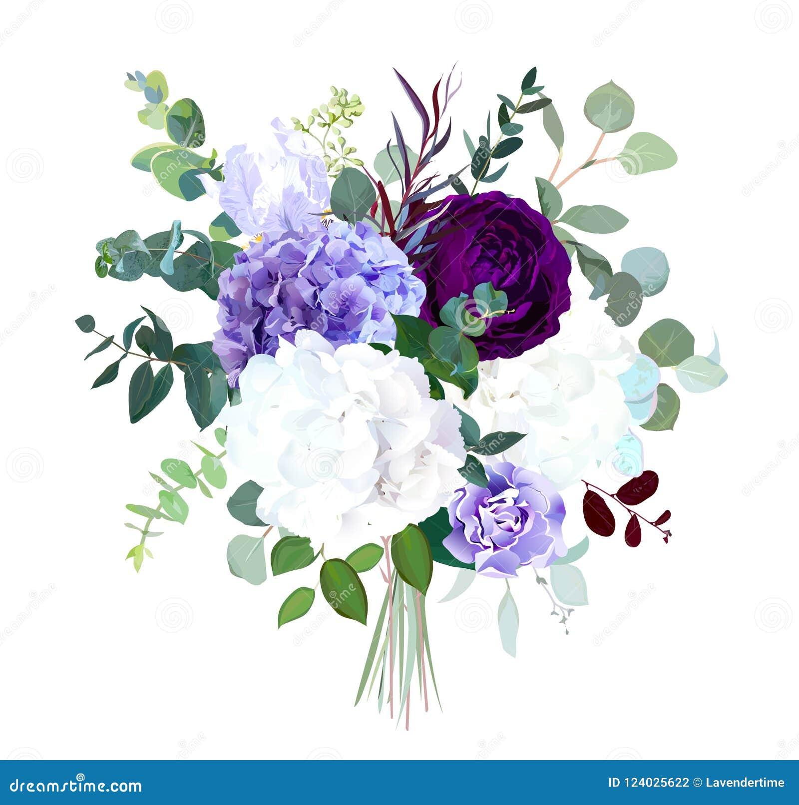 De donkere purpere tuin nam, witte en lilac hydrangea hortensia, violette iris toe,