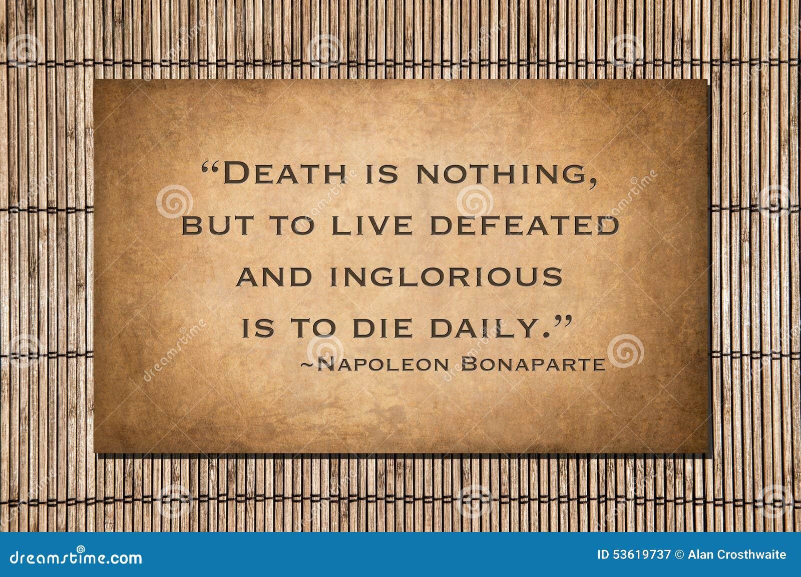De Dood Is Niets Napoleon Bonaparte Citaat Stock