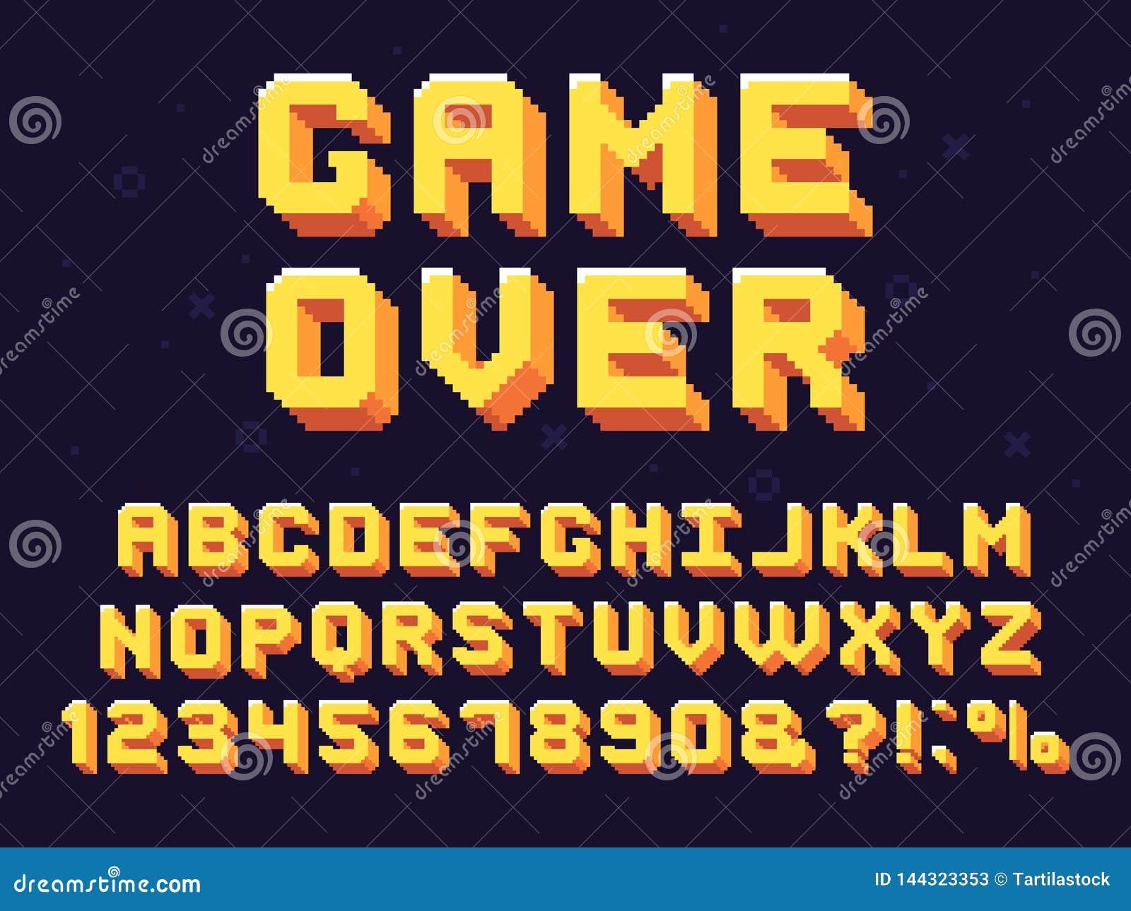 De doopvont van het pixelspel Retro spelentekst, het alfabet van het jaren  90gokken en vectorreeks met 8 bits van computer de gr
