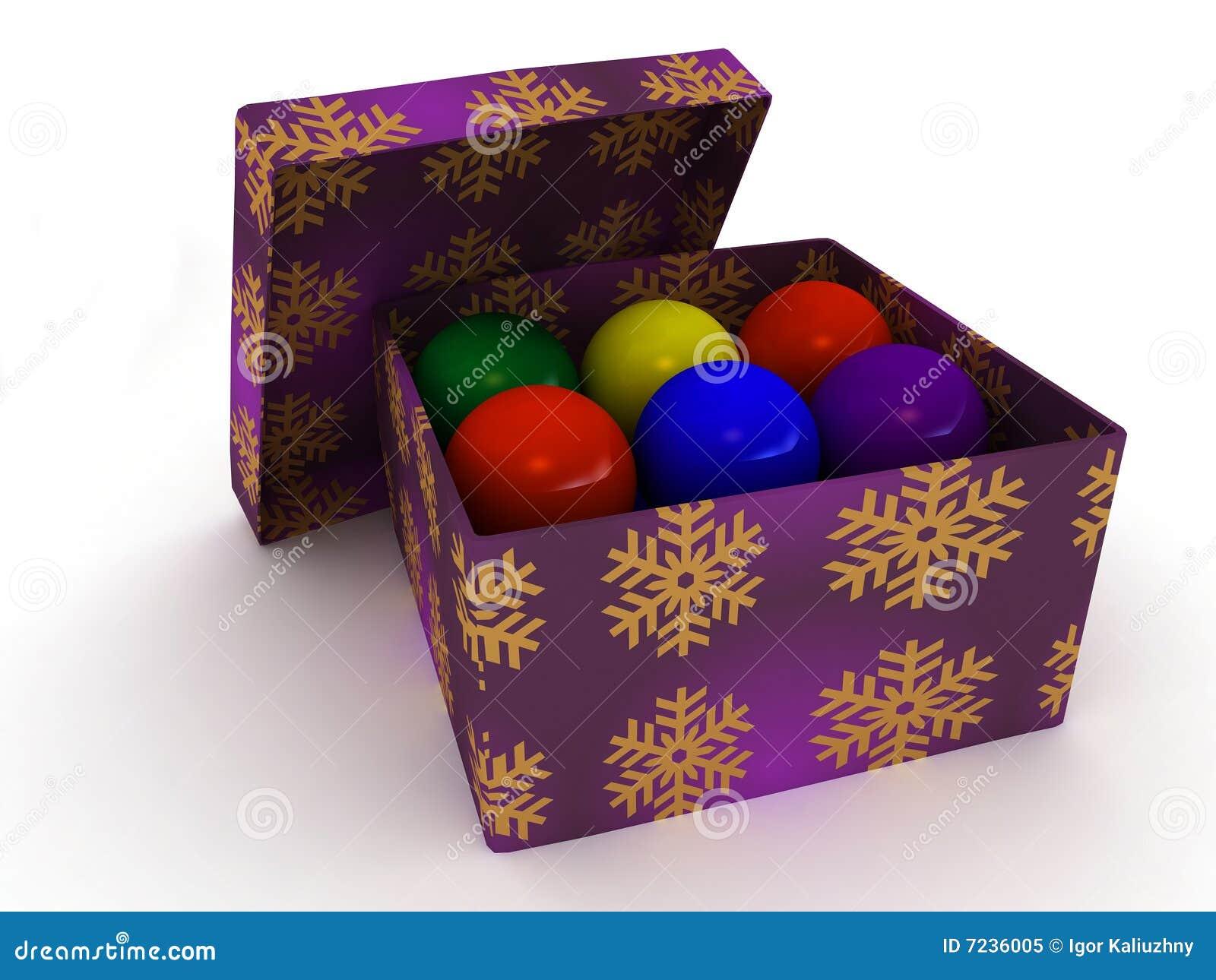 De doos en Kerstmisballen van de gift